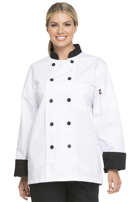 Unisex Classic 10 Button Chef Coat in White with Black Trim