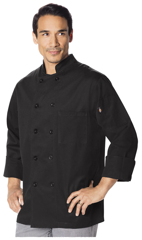 Dickies Chef Unisex Classic 10 Button Chef Coat in Black