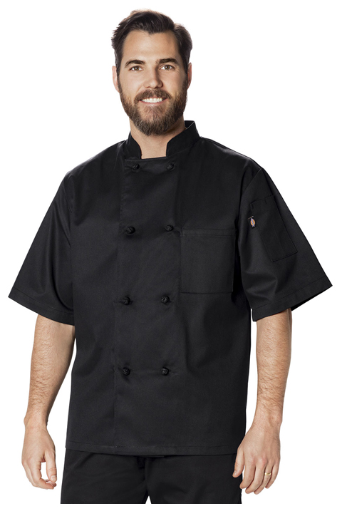 Dickies Chef Unisex Classic Knot Button Chef Coat S/S in Black