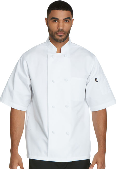 Dickies Chef Unisex Classic Knot Button Chef Coat S/S in White