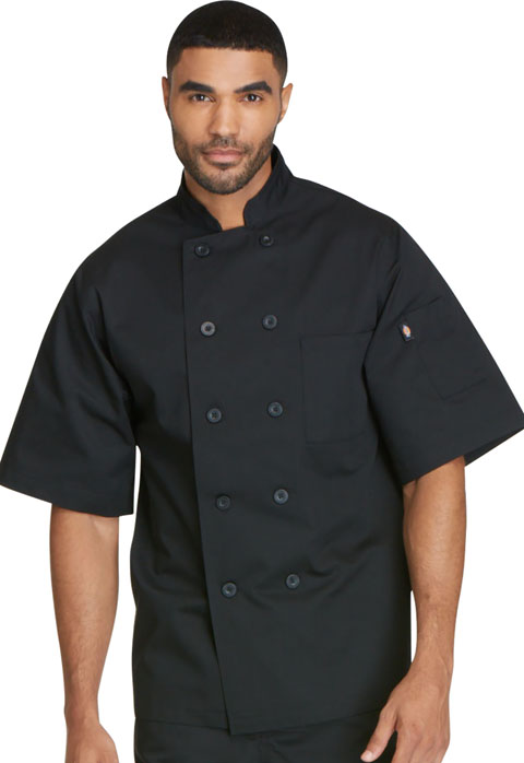 Dickies Chef Unisex Classic 10 Button Chef Coat S/S in Black