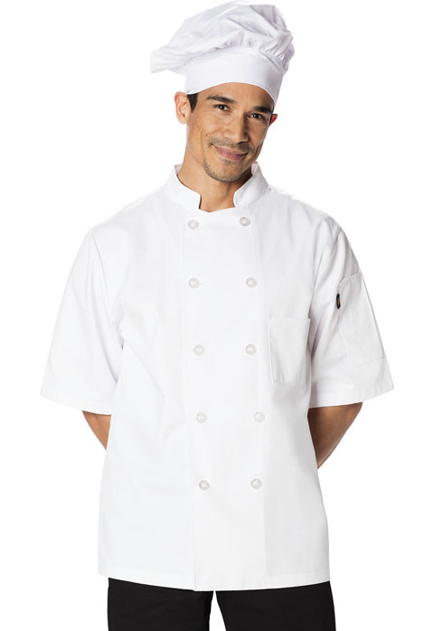 Dickies Chef Unisex Classic 10 Button Chef Coat S/S in White