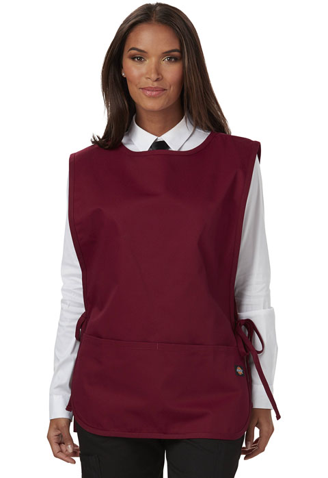 Dickies Chef Cobble Bib Apron with Tie Sides in Burgundy