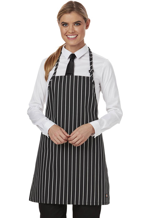 Dickies Chef Bib Apron with Adjustable Neck in Black/White Stripe