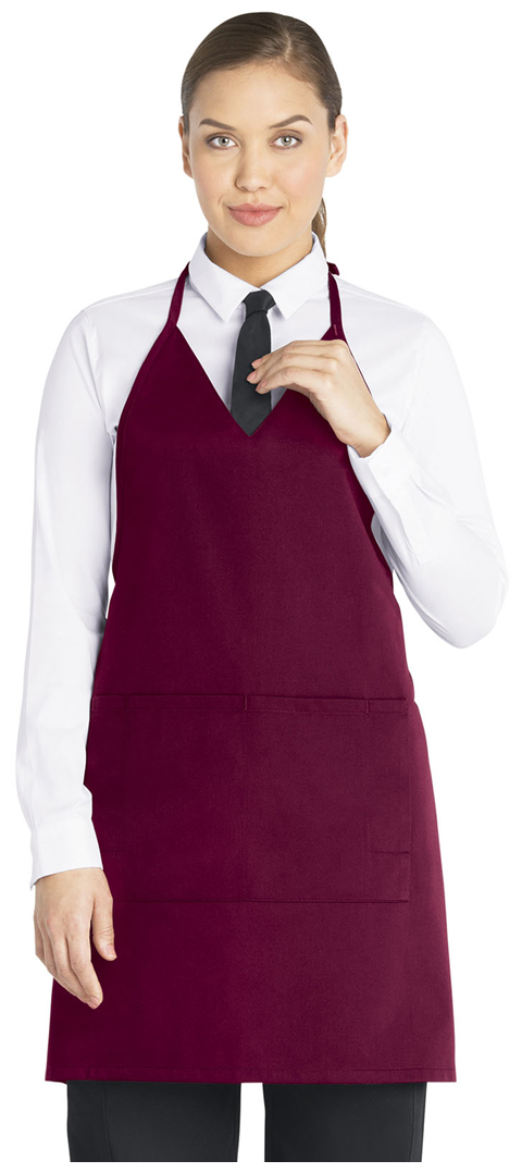 Dickies Chef V-Neck Tuxedo Apron with Snaps in Burgundy