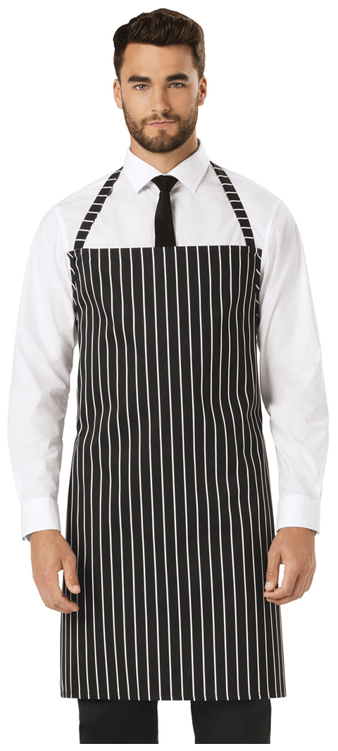 Dickies Chef Set Strap, No Pocket Bib Apron in Black/White Stripe
