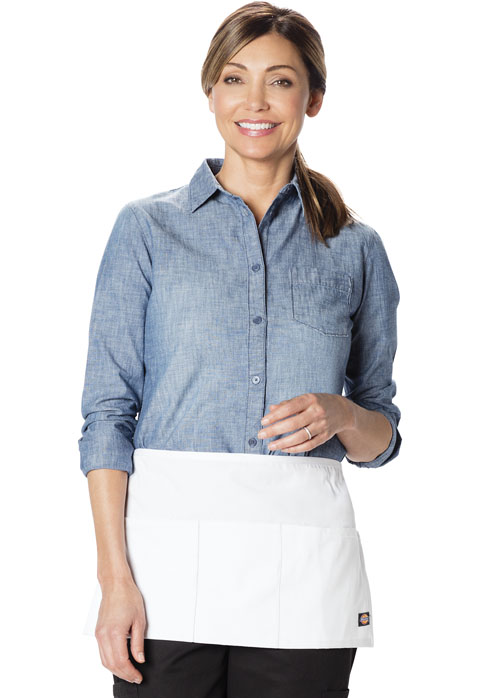 Dickies Chef 3 Pocket Server Waist Apron - 6 pc pack in White