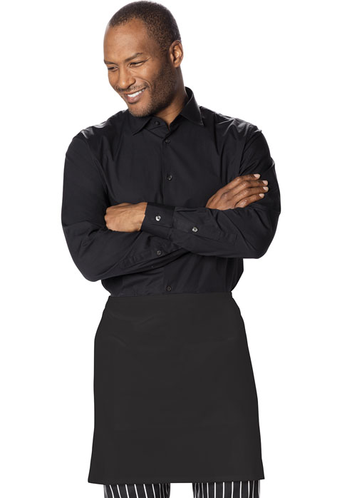 Dickies Chef Half Bistro Waist Apron with 2 Pockets in Black