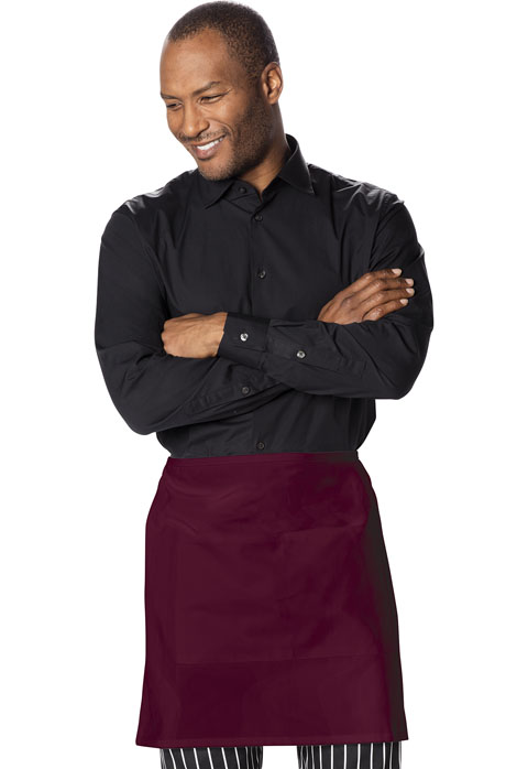 Dickies Chef Half Bistro Waist Apron with 2 Pockets in Burgundy