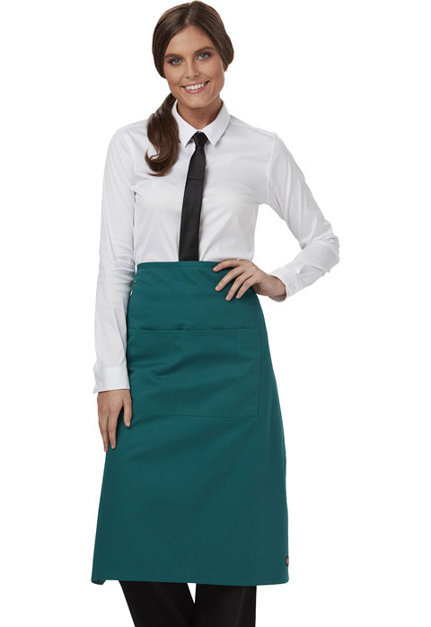 Dickies Chef Full Bistro Waist Apron with 2 Pockets in Hunter Green