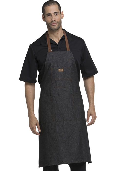 Dickies Chef Bib Apron with Brown Straps in Black Denim