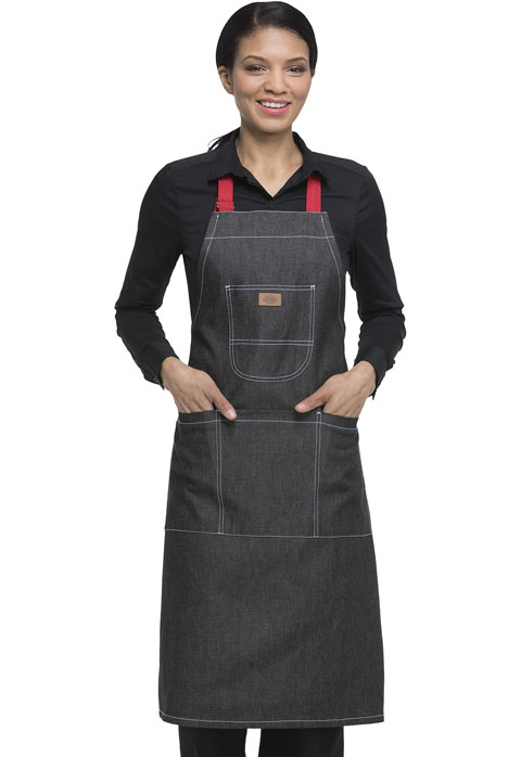 Dickies Chef Bib Apron with Red Straps in Black Denim
