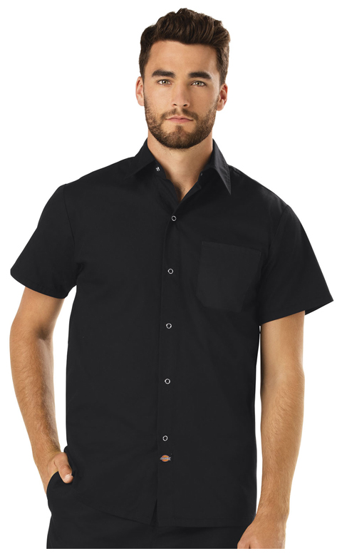 Dickies Chef Unisex Poplin Cook Shirt in Black