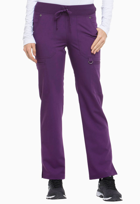 Dickies Xtreme Stretch Mid Rise Rib Knit Waistband Pant in Eggplant