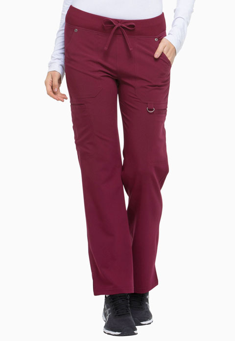 Dickies Xtreme Stretch Mid Rise Rib Knit Waistband Pant in D-Wine