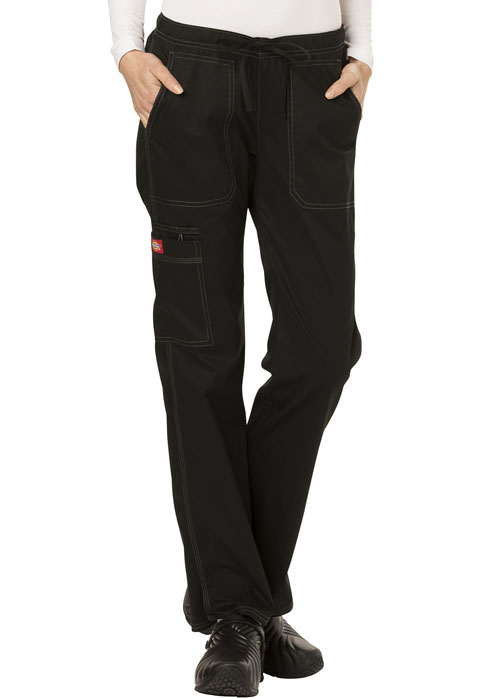 Dickies Gen Flex Low Rise Straight Leg Drawstring Pant in Black