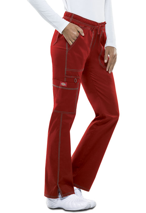 Dickies Gen Flex Low Rise Straight Leg Drawstring Pant in Crimson