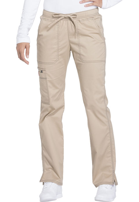 Gen Flex Women's Low Rise Straight Leg Drawstring Pant Khaki