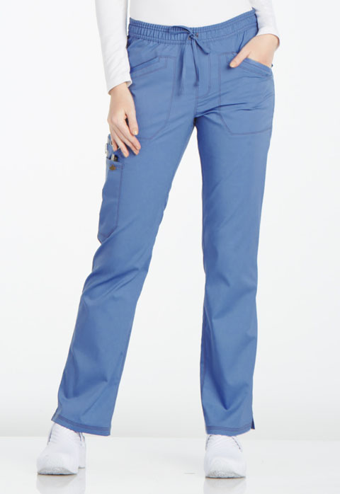 Dickies Essence Mid Rise Straight Leg Drawstring Pant in Ciel Blue