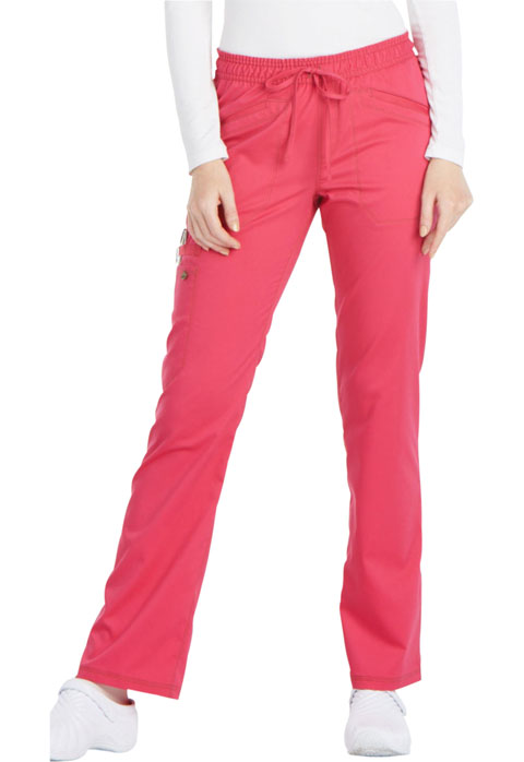 Dickies Essence Mid Rise Straight Leg Drawstring Pant in Hot Pink