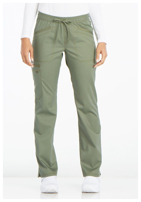 Dickies Essence Mid Rise Straight Leg Drawstring Pant in Olive