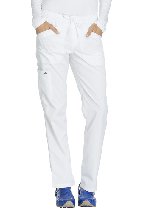 Dickies Essence Mid Rise Straight Leg Drawstring Pant in White