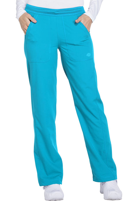 Dickies Dynamix Women Mid Rise Straight Leg Pull-on Pant Blue