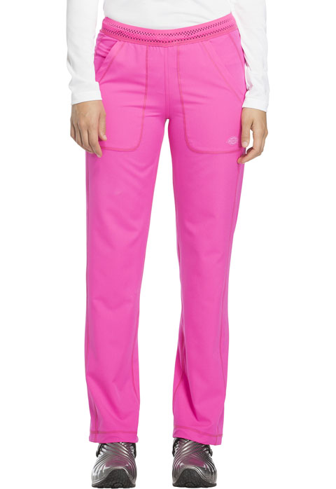 Dickies Dynamix Women's Mid Rise Straight Leg Pull-on Pant Pink