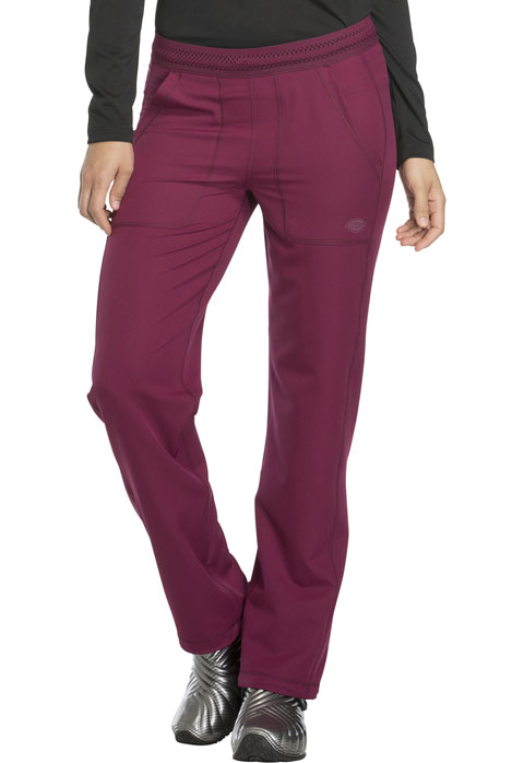 Dickies Dynamix Mid Rise Straight Leg Pull-on Pant in Wine