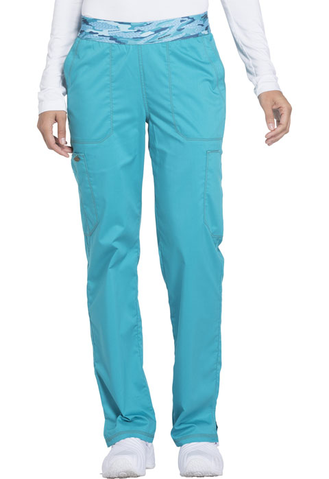Dickies Essence Mid Rise Tapered Leg Pull-on Pant in Teal Blue