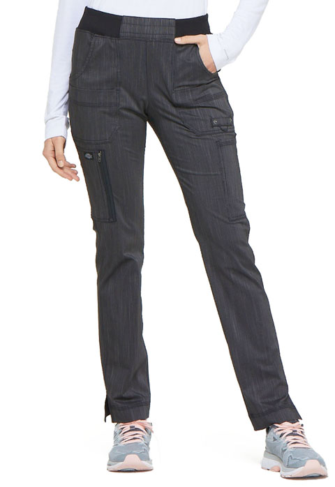 Dickies Advance Mid Rise Tapered Leg Rib Knit Waist Pant in Onyx Twist