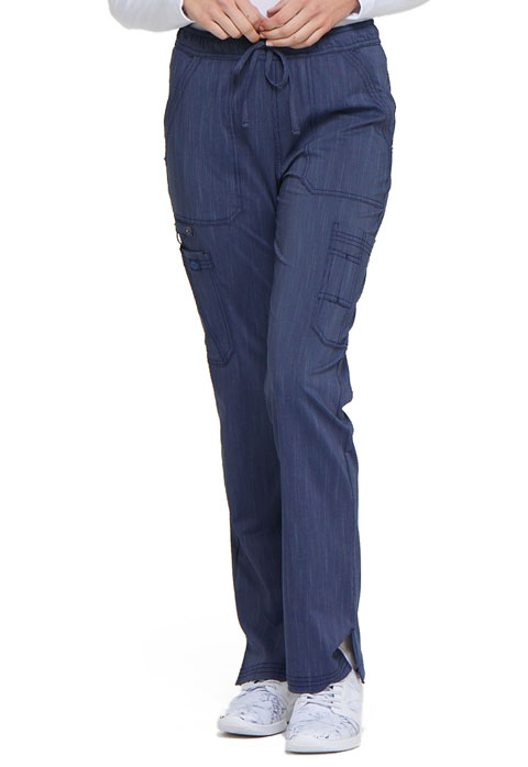 Dickies Advance Mid Rise Boot Cut Drawstring Pant in D Navy Twist