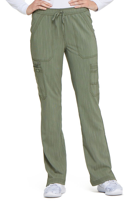 Dickies Advance Mid Rise Boot Cut Drawstring Pant in Olive Twist