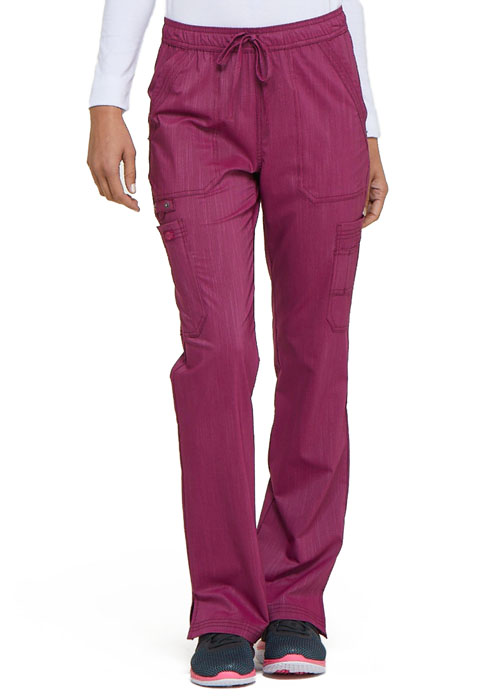 Dickies Advance Mid Rise Boot Cut Drawstring Pant in Sangria Twist