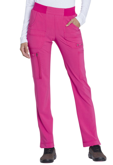 Dickies Advance Mid Rise Tapered Leg Pull-on Pant in Hot Pink