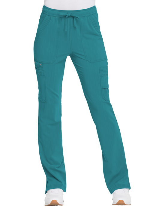 Dickies Advance Mid Rise Boot Cut Drawstring Pant in Teal Blue