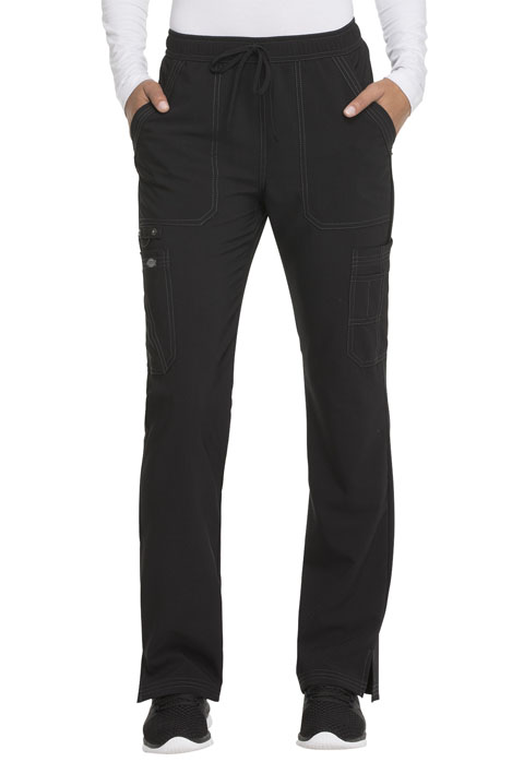 Dickies Advance Mid Rise Boot Cut Drawstring Pant in Black