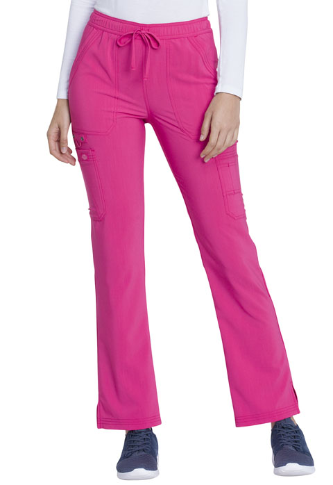 Dickies Advance Mid Rise Boot Cut Drawstring Pant in Hot Pink
