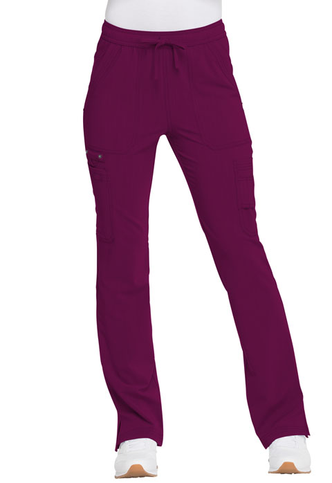 Dickies Advance Mid Rise Boot Cut Drawstring Pant in Wine