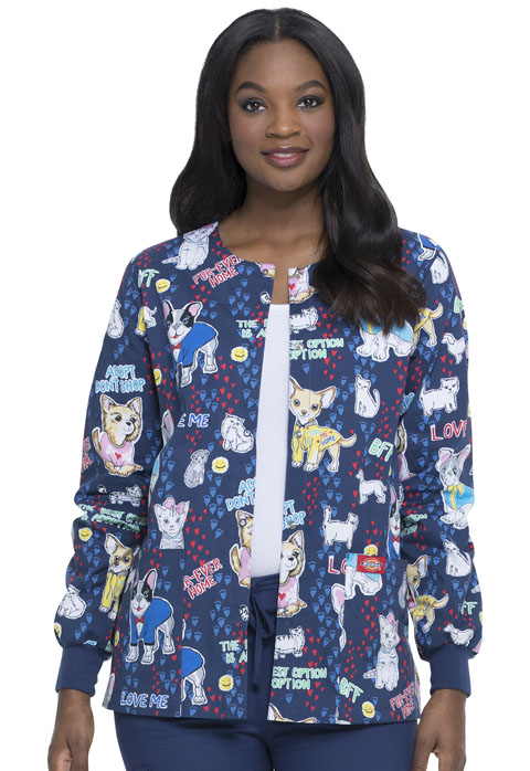 Dickies Dickies Prints Snap Front Warm-Up Jacket in Adopt Don't Shop