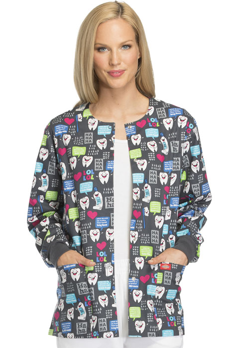 Dickies Dickies Prints Women's Snap Front Warm-Up Jacket Have A Laugh