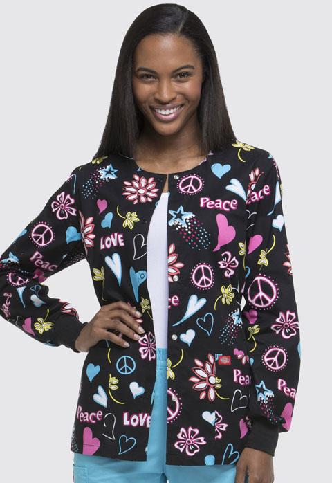 Dickies Dickies Prints Women's Snap Front Warm-Up Jacket Peace & Love