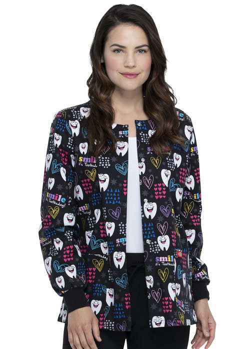 Dickies Dickies Prints Snap Front Warm-Up Jacket in Smile It's Toothsday