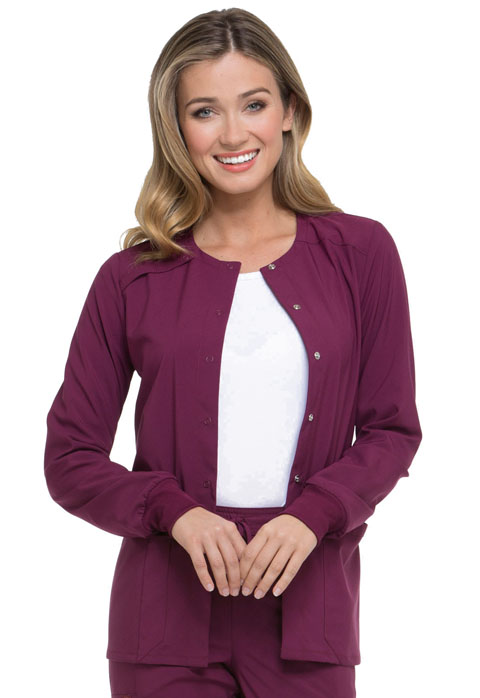 Dickies Every Day EDS Essentials Snap Front Warm-up Jacket in Wine