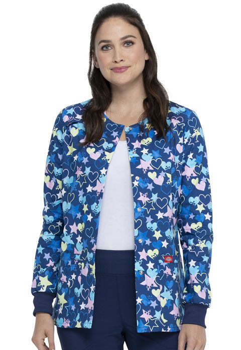 Dickies Dickies Prints Snap Front Warm-Up Jacket in Starry Eyed Love