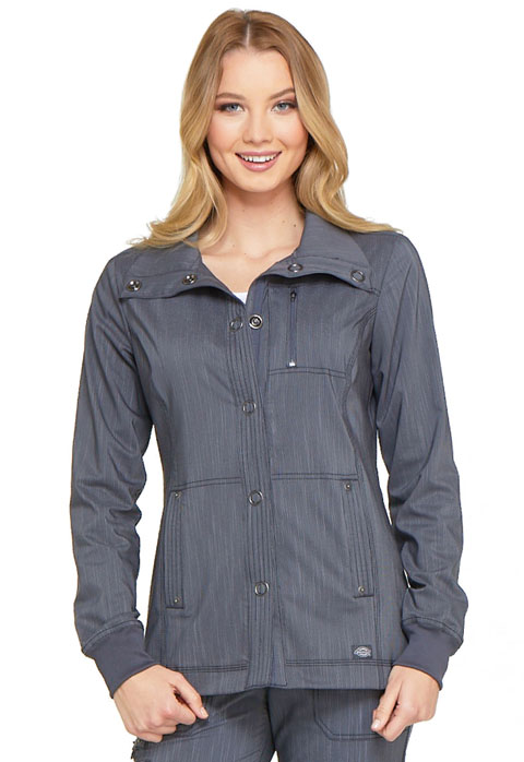 Dickies Advance Snap Front Jacket in Pewter Twist