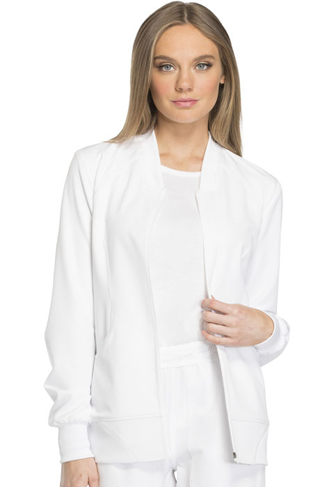 Dickies Dynamix Women's Zip Front Warm-up Jacket White