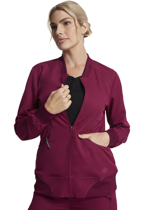 Dickies Dynamix Zip Front Warm-up Jacket in Wine