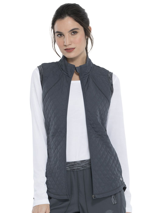 Dickies Dynamix Women's Quilted Zip Front Vest Gray