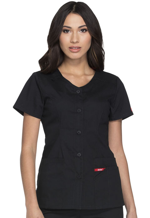 Dickies EDS Signature Women's Button Front V-Neck Top Black